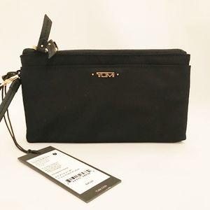 Tumi Black Nylon Double Zip Wallet